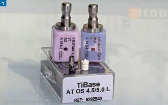 Fot. 1. Dwa rodzaje bloczków systemu IPS emax Abutment Solution oraz zestaw TiBase